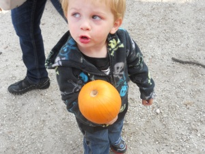 He didn't like the idea of rolling his pumpkin down the hill