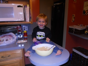 We're making cookies for daddy after the pumpkin roll